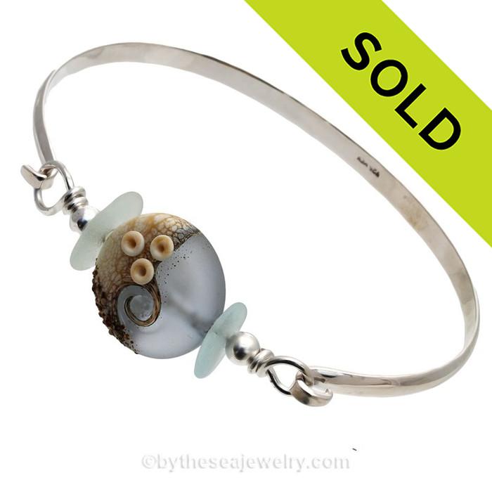 Stormy Seas -Genuine Sea Glass Sterling Silver Bangle Bracelet with Wave Bead