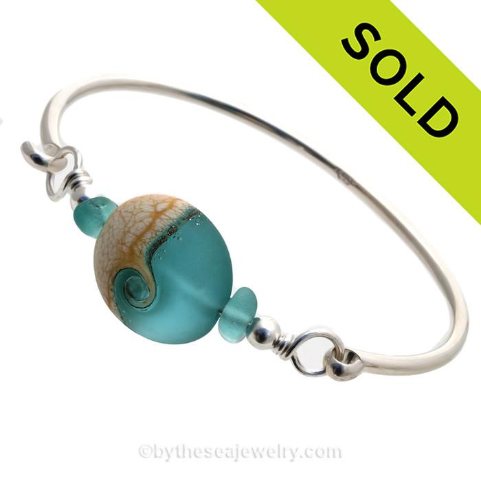 Tropical Wave - Rare Aqua Sea Glass Sterling Premium Bangle Bracelet With Lampwork Wave Bead (SBB14)