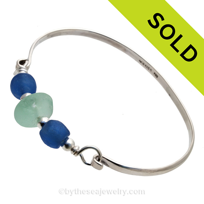 Sea and Sky -  Seafoam Green Seaham Sea Glass Bangle Bracelet In Solid Sterling