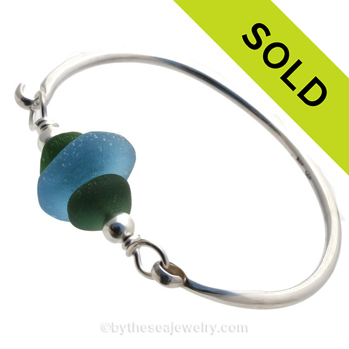 Jungle Green Seaham Sea Glass Bangle Bracelet In Solid Sterling With Large Sky Blue Bead