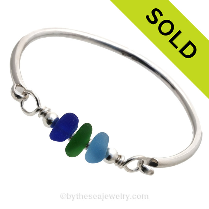 A Rare Trio of Cobalt Blue , Seaweed Green and Vivid  Electric Aqua Sea Glass on Our Premium Bangle Bracelet. SOLD - Sorry this Sea Glass Bangle Bracelet is NO LONGER AVAILABLE!