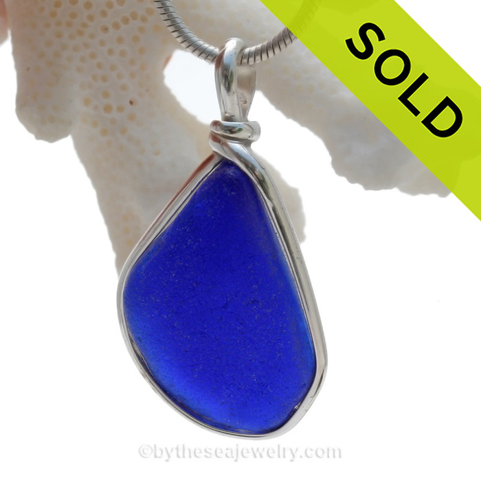 Saturated Cobalt Blue Sea Glass Bottle Bottom Pendant In Sterling Original Wire Bezel©