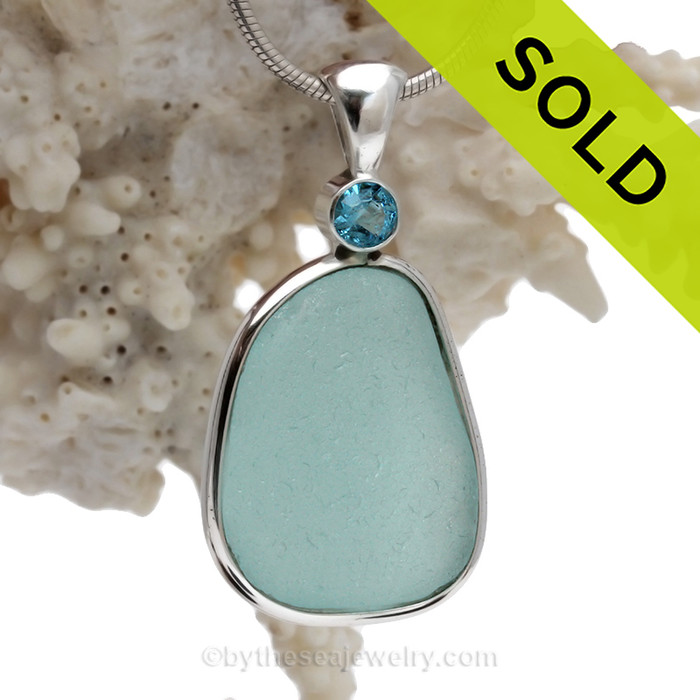 Touch Of Elegance - Large Aqua Blue Sea Glass Pendant In Deluxe Wire Bezel With Genuine Aquamarine Gem (