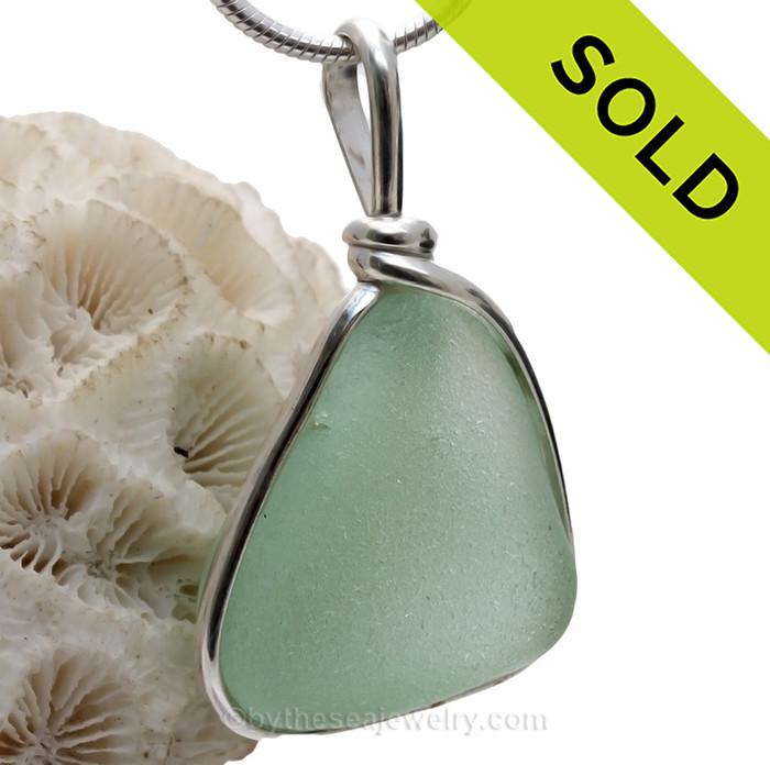 Large Triangle of Seafoam Green Sea Glass Pendant In Original Wire Bezel Setting©