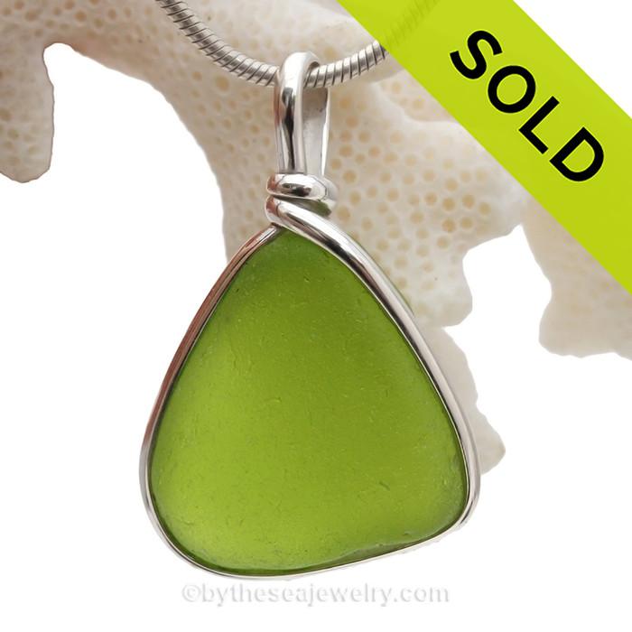 Electric Summer -  Electric Lime Sea Green Sea Glass In Original Silver Wire Bezel© Pendant