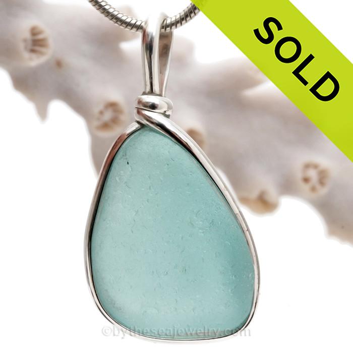 Aquamarine Genuine Sea Glass Pendant In Sterling Original Wire Bezel Setting©