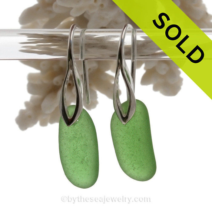 Simply Elegant -  Long Perfect Beach Found Green Sea Glass Earrings On Silver Silver Deco Hooks