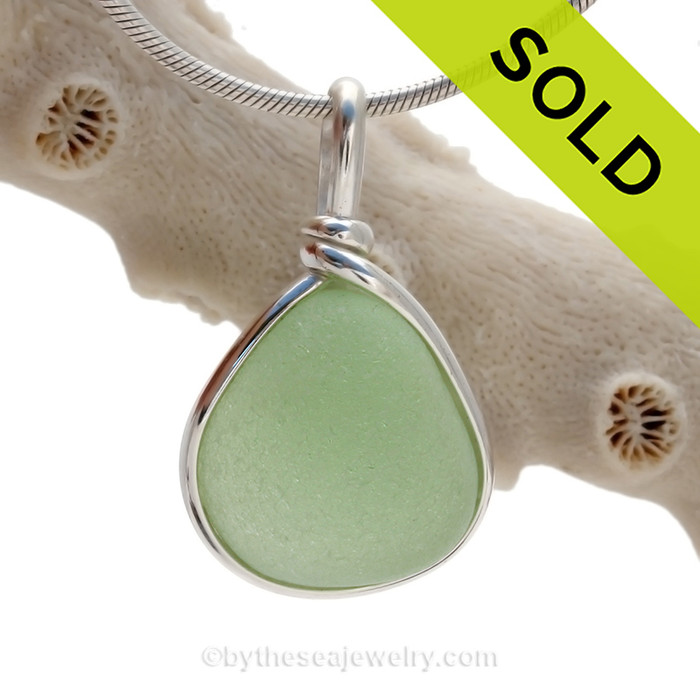 P-E-R-F-E-C-T  Thick Seafoam Green Genuine Sea Glass Pendant In Sterling Original Wire Bezel©