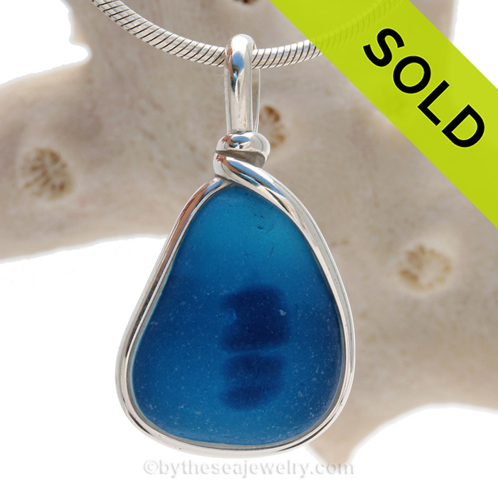 Gulfstream Sonar - Blue Multi Seaham Sea Glass In Sterling Silver Original Wire Bezel©