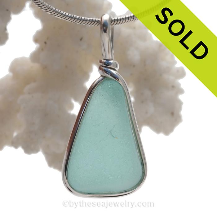 P-E-R-F-E-C-T Aquamarine Genuine Sea Glass Original Wire Bezel© Pendant in Sterling Silver