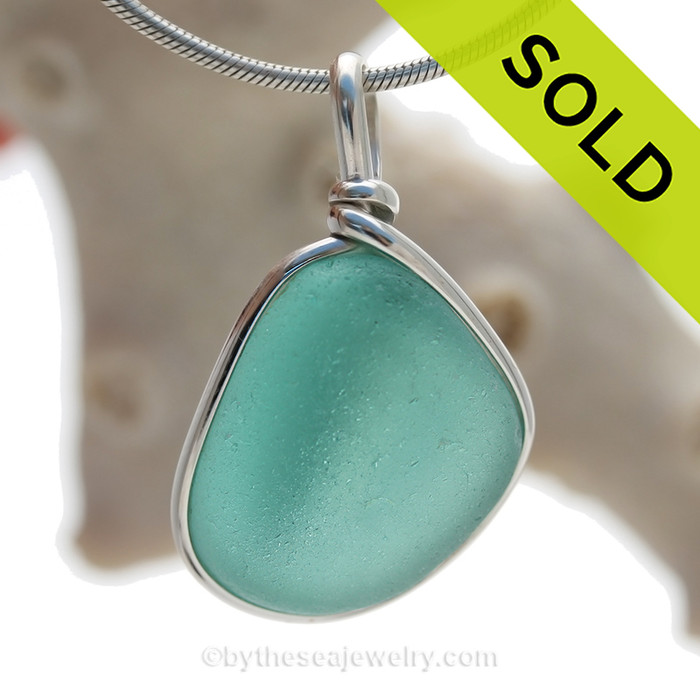 Deep Aquamarine Genuine Sea Glass Bottle Bottom Original Wire Bezel© Pendant in Sterling Silver