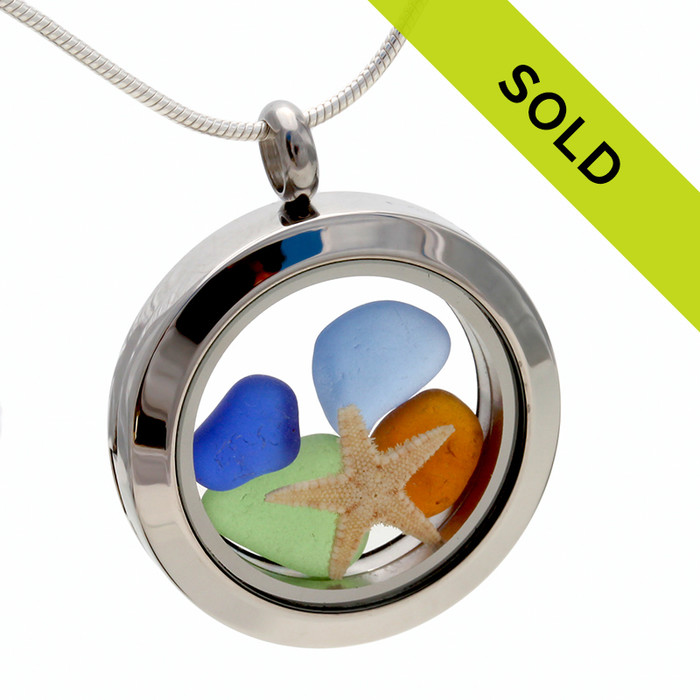 Jeweltone Sea Glass Locket With Starfish On Necklace Chain