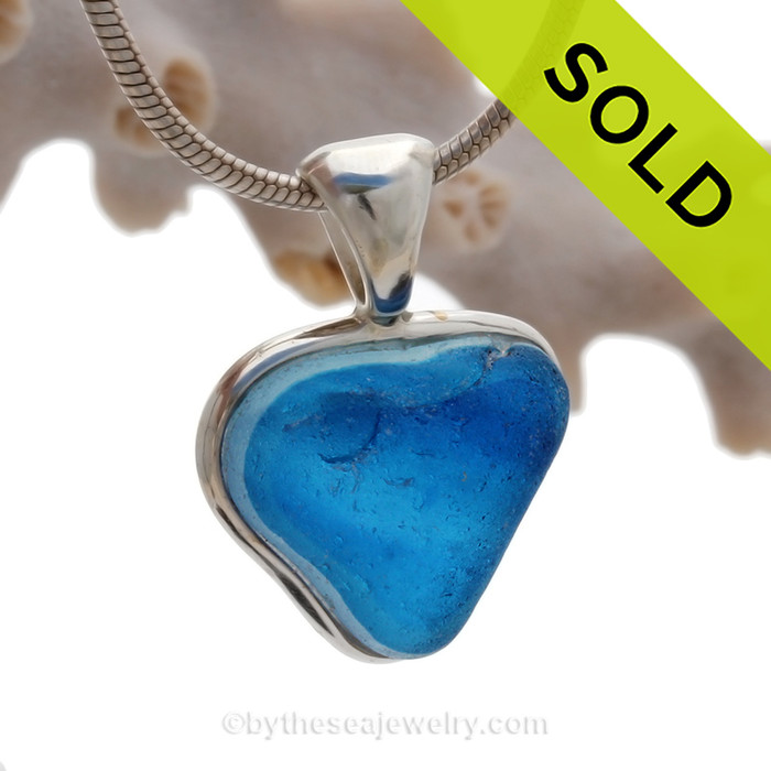 Lil BitO Love- Small Mixed Blue Natural Seaham Sea Glass Heart In Deluxe Sterling Bezel© Necklace Pendant