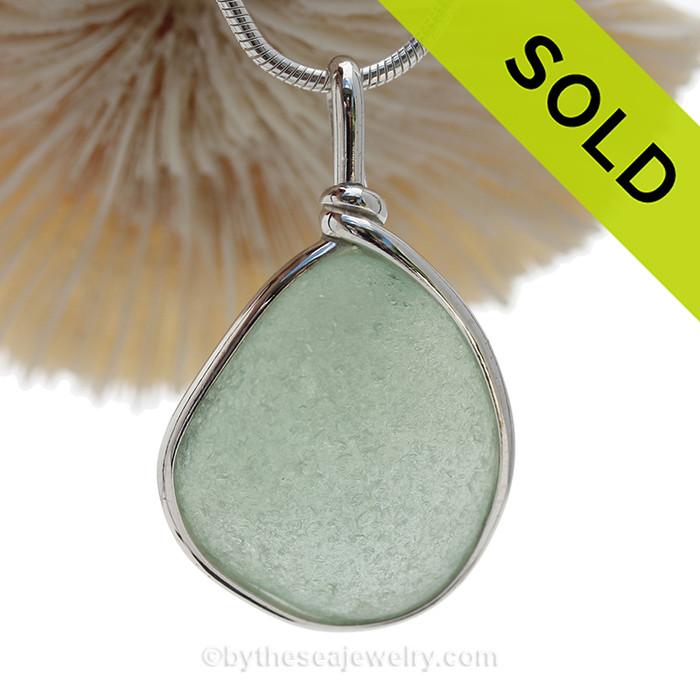 P-E-R-F-E-C-T Seafoam Green Genuine Sea Glass Pendant In Sterling Original Wire Bezel© (SBEZEL116