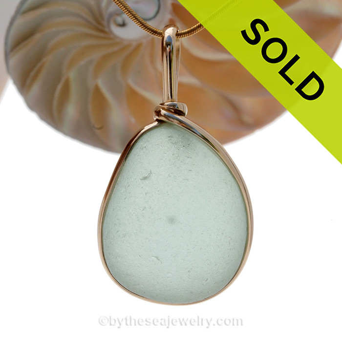 Large and Thick Sea Green Seaham Sea Green Sea Glass In our Original Gold Wire Bezel©