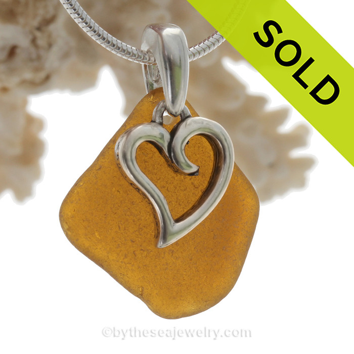 """Bright Amber Brown Sea Glass Necklace with Sterling Heart Charm and 18"""" STERLING Silver CHAIN INCLUDED"""