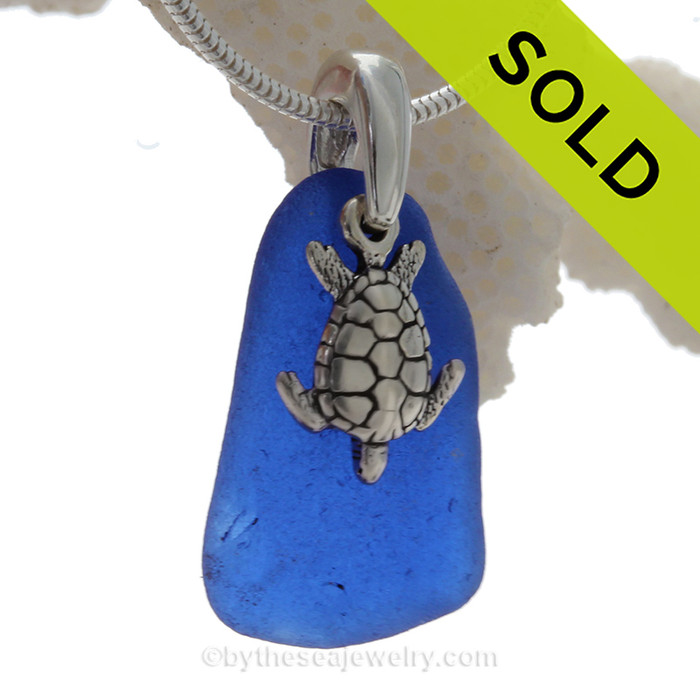 """RARE PERFECT Cobalt Blue Sea Glass Necklace with Sterling Sea Turtle Charm and 18"""" STERLING CHAIN INCLUDED"""