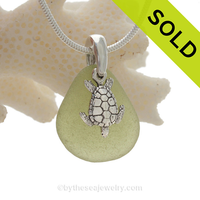 """Peridot  Green Sea Glass Necklace with Sterling Detailed Sea Turtle Charm and 18"""" STERLING CHAIN INCLUDED"""