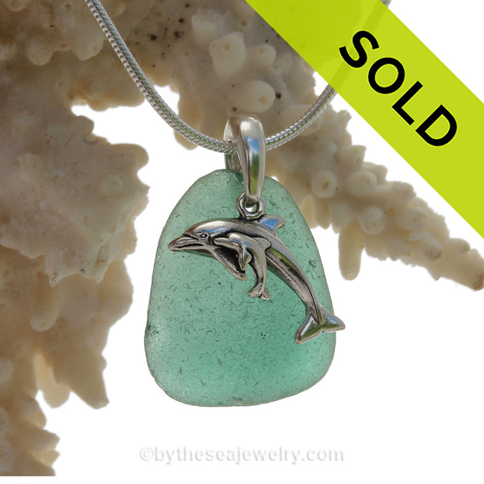 """Rare Aqua Green Sea Glass With Sterling Silver Dolphins Charm - 18"""" STERLING CHAIN INCLUDED"""