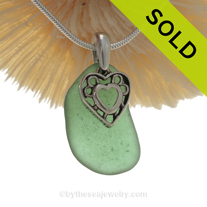 "Unusual Green Sea Glass Necklace With Sterling Heart In Heart Charm - 18"" 1.2MM Solid Sterling Chain INCLUDED"