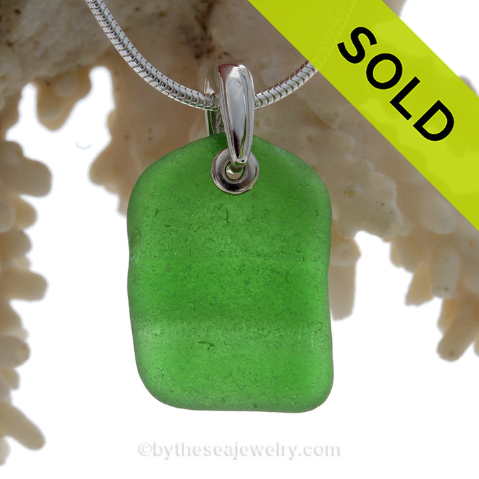 LARGE Simply Ridged Green Sea Glass Necklace On Sterling Bail - S/S SNAKE CHAIN INCLUDED