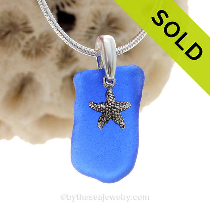 "Rare Cobalt Blue Sea Glass Necklace with Sterling Silver Sea Star Charm and 18"" STERLING CHAIN INCLUDED"
