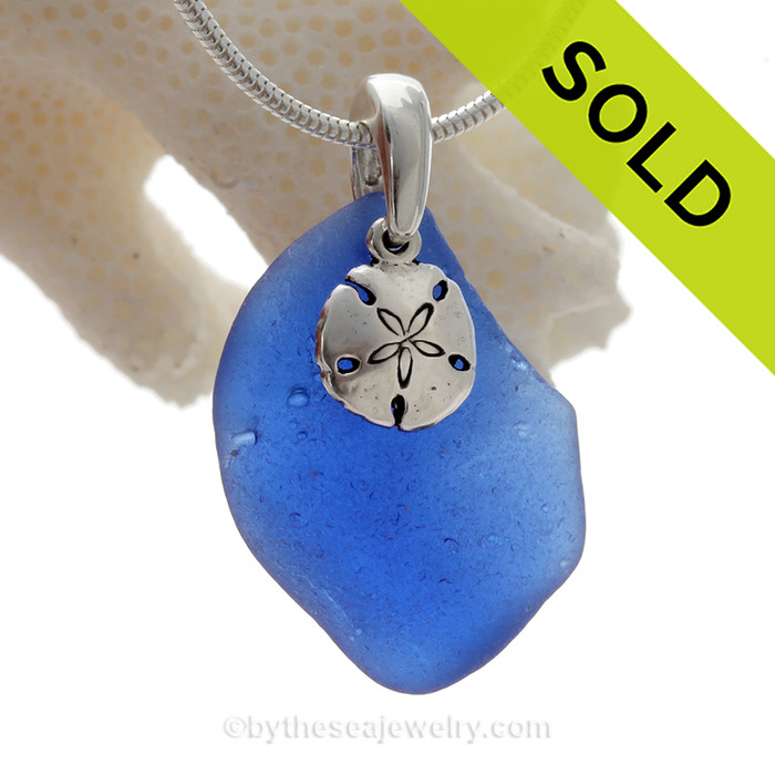 Genuine Rare Cobalt Blue Sea Glass Necklace with Sterling Silver Sandollar Charm