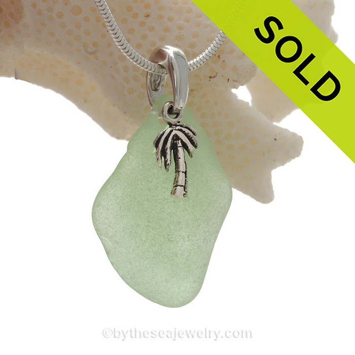 """Seafoam Green Glass Necklace with Sterling Silver Palm Tree Charm and 18"""" STERLING CHAIN INCLUDED"""