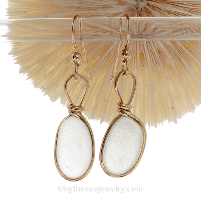 Larger and longer natural UNALTERED white sea glass set in our Original Wire Bezel© setting.