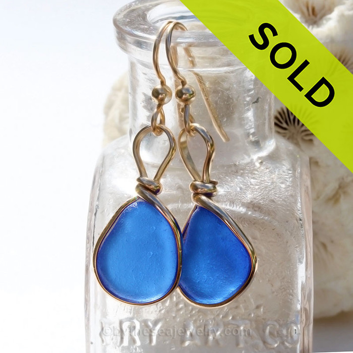 Small but Mighty P-E-R-F-E-C-T Cobalt Blue Genuine Sea Glass Earings 14K Goldfilled Original Wire Bezel©