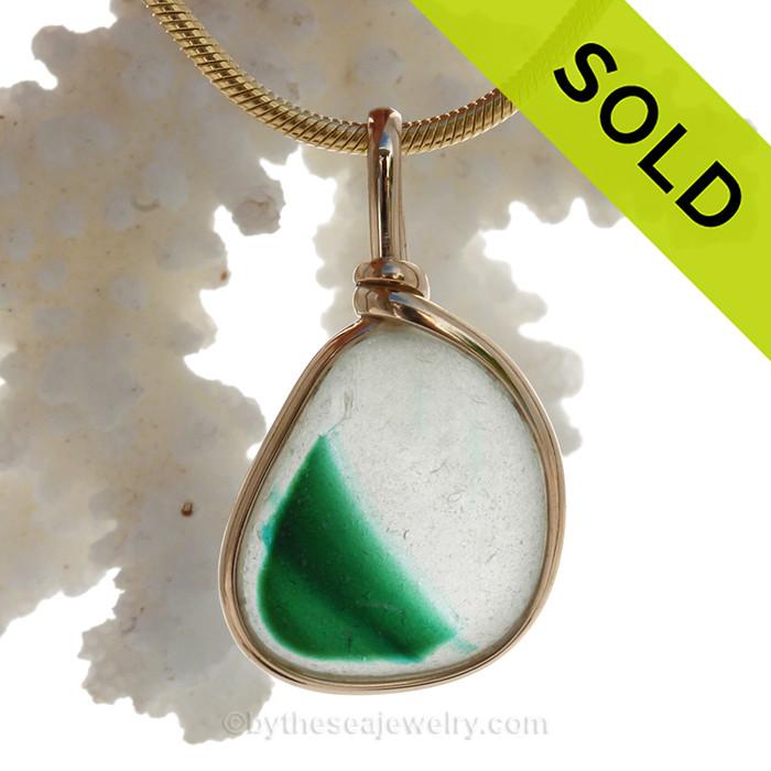 A Hint of Vivid Bright Irish Green in this Mixed Multi English Art Sea Glass In 14K G/F Original Wire Bezel©