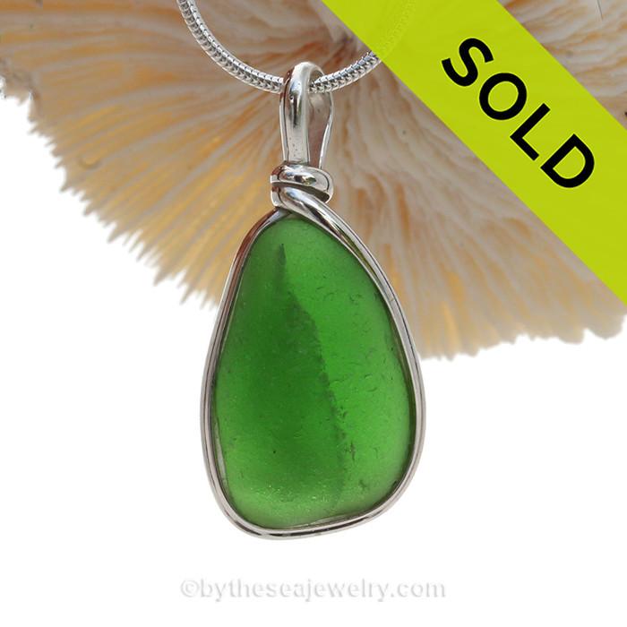 In The Fold - Neat Green Bonfire Sea Glass In Original Silver Wire Bezel© Wire Pendant