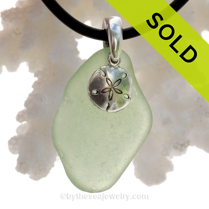 Simply Sea Glass - Peridot Green Natural Sea Glass Necklace W/ Sandollar Charm Silver Bail on Neoprene Cord
