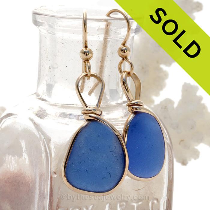Brilliant Blue Genuine Sea Glass Earrings 14K Rolled Gold Original Wire Bezel© (GFEBEZEL22)