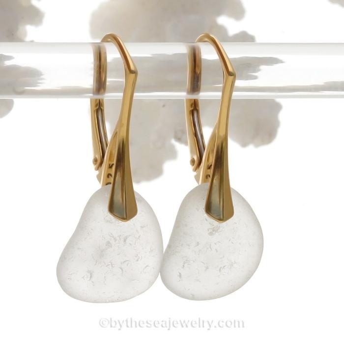 Simple pure white sea glass earrings on 24K gold Vermeil Leverbacks!