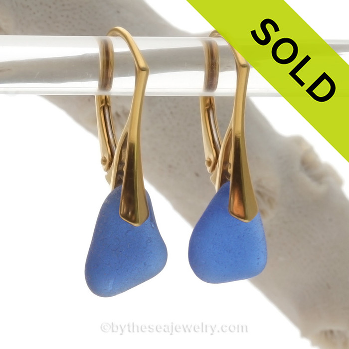 Perfect Blue Sea Glass on 24K Gold Vermeil Leverbacks