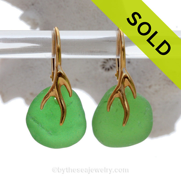 Vivid Glowing Green Beach Found Sea Glass Earrings on 24K Gold Vermeil Coral Branch Leverbacks