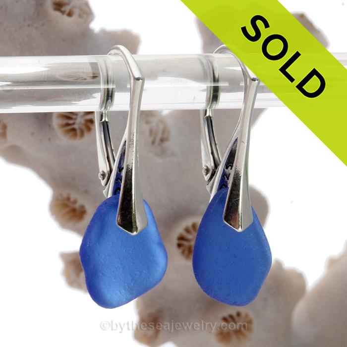 Simply Elegant -  Genuine Deep Cobalt Blue Sea Glass Earrings on Solid Sterling Leverbacks