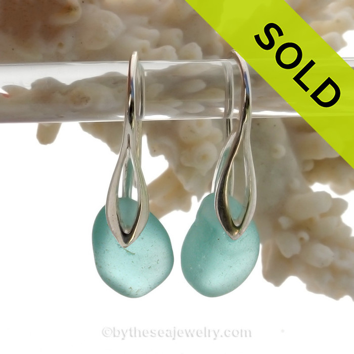 Thick Perfect Aqua Blue Sea Glass Earrings on Solid Sterling Deco Hooks