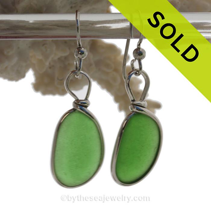 Perfect Ovals of Vivid Green Genuine Sea Glass Earrings In Sterling Silver Original Wire Bezel©