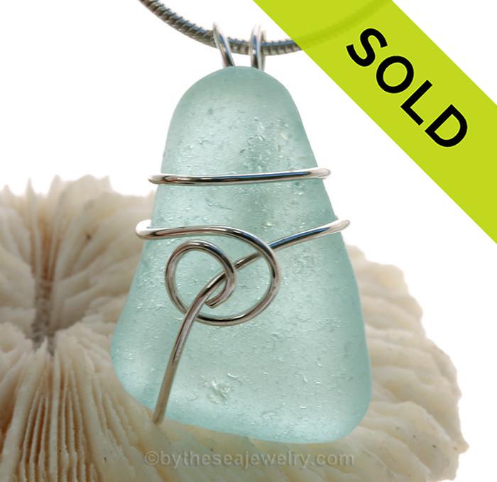 Pale Aqua Blue Genuine Sea Glass Pendant In Sterling Silver Sea Swirl Setting