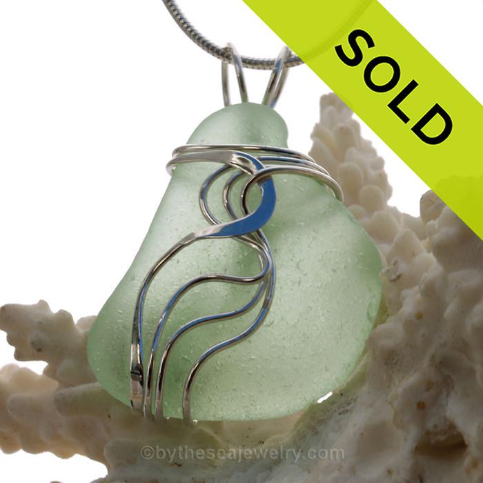 Large Yellowy Sea Green Sea Glass Sterling Waves© Signature Sterling Setting Pendant