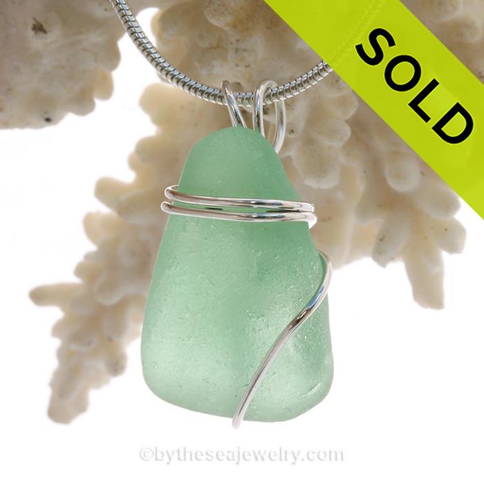 Glowing Sea Green Sea Glass Pendant In Sterling Basic Beach Setting