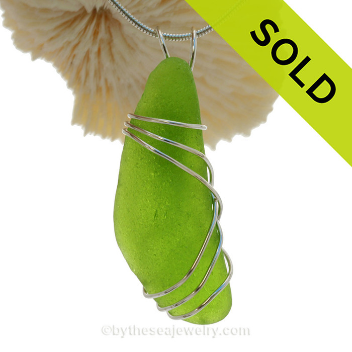 Glowing RARE Chartreuse Sea Glass Bottle Bottom Pendant In Sterling Triple Necklace Pendant Setting