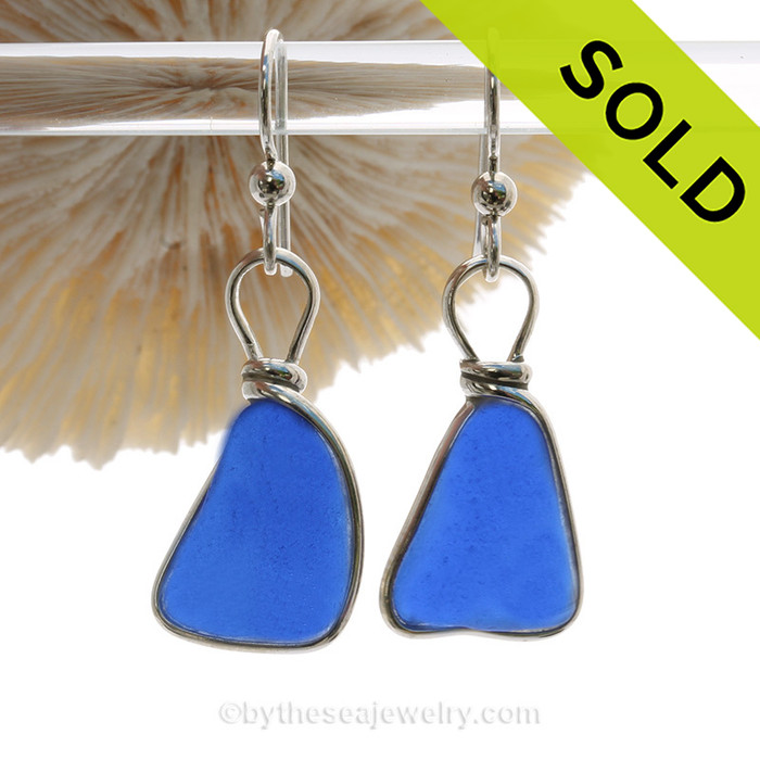 Bright Cobalt Blue Genuine Sea Glass Earrings Solid Sterling Silver Original Wire Bezel©. Our original Wire Bezel Earring setting lets all the beauty of these beauties shine!  This setting DOES NOT ALTER the sea glass from the way it was found on the beach.