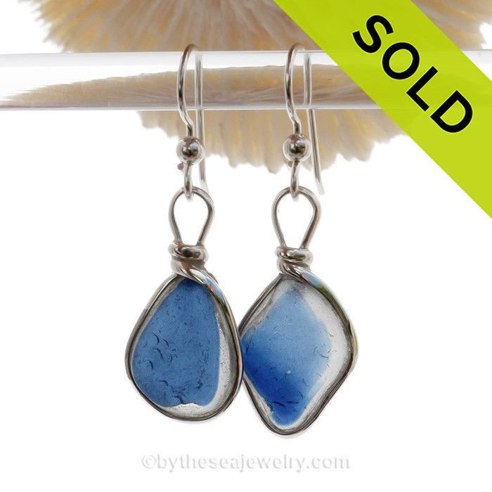 Mysterious Blue -  Flat Flashed Mixed Blue(?) Sterling Seaham  Sea Glass Earrings In Sterling Original Wire Bezel©