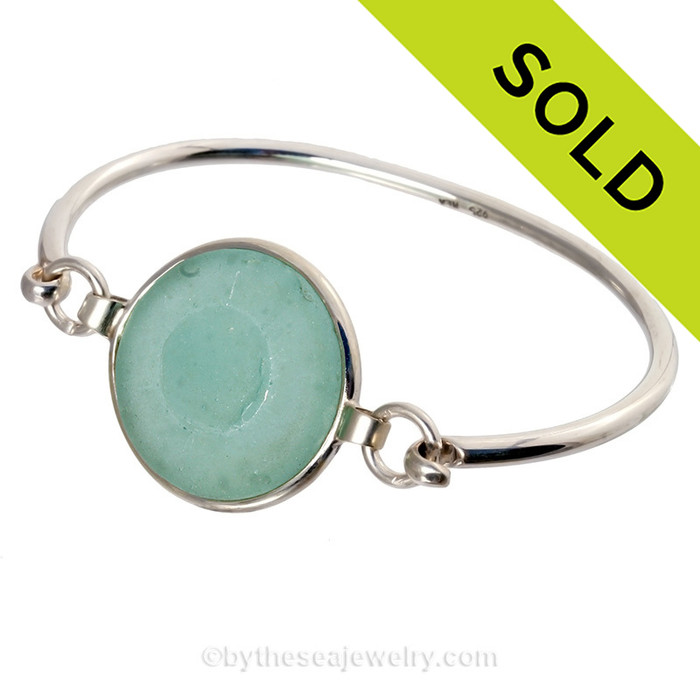 Genuine Aqua Green Sea Glass Stopper Top Bangle Bracelet set in our Premium Deluxe Wire Bezel© Solid Sterling Silver