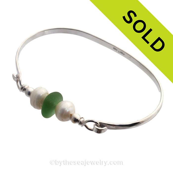 Bright Peridot Green Seaham Sea Glass Premium Bangle Bracelet In Solid Sterling With Pearls  SOLD - Sorry this Sea Glass Bangle Bracelet is NO LONGER AVAILABL
