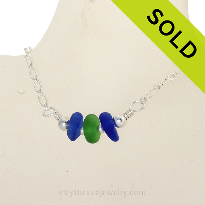 Simply Sea Glass - Triple Simply Sea Glass Necklace with Vivid Green and Cobalt Blue on Solid Sterling Silver