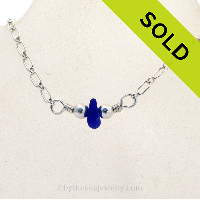 A simple Sea Glass Necklace in a saturated Cobalt Blue and all Solid Sterling Silver. SOLD - Sorry this Sea Glass Necklace is NO LONGER AVAILABLE!